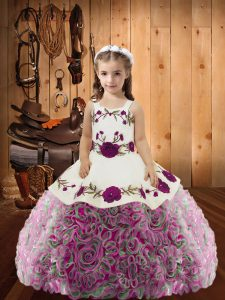 Cheap Sleeveless Embroidery and Ruffles Lace Up Pageant Dress