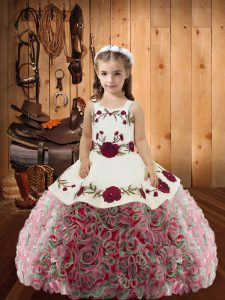 Floor Length Multi-color Pageant Dress Straps Sleeveless Lace Up