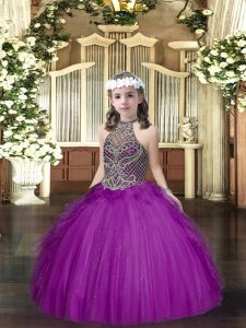 Purple Halter Top Neckline Beading and Ruffles Winning Pageant Gowns Sleeveless Lace Up