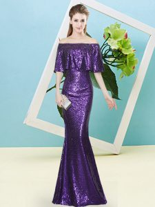 Traditional Purple Half Sleeves Sequined Zipper Pageant Dress for Teens for Prom and Party