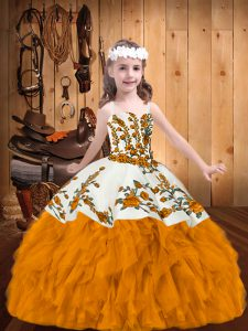 Trendy Floor Length Ball Gowns Sleeveless Gold Little Girl Pageant Dress Zipper