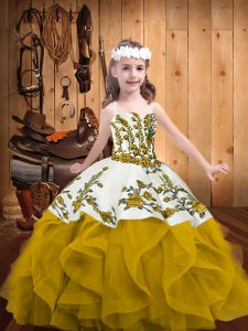 Sleeveless Embroidery and Ruffles Lace Up Little Girls Pageant Dress Wholesale