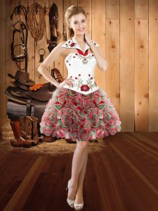 Fine Sleeveless Lace Up Mini Length Embroidery Pageant Dress for Teens