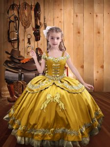 High Class Sleeveless Beading and Embroidery Lace Up Custom Made Pageant Dress