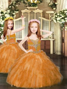 Rust Red Ball Gowns Beading and Ruffles Kids Formal Wear Lace Up Tulle Sleeveless Floor Length