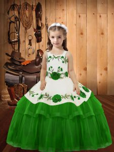 Most Popular Green Lace Up Little Girls Pageant Gowns Embroidery and Ruffled Layers Sleeveless Floor Length