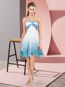 One Shoulder Sleeveless Lace Up Pageant Dress Multi-color Fading Color