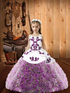 High Quality Ball Gowns Little Girls Pageant Gowns Multi-color Straps Organza and Fabric With Rolling Flowers Sleeveless Floor Length Lace Up