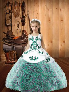 Sleeveless Lace Up Floor Length Embroidery Little Girls Pageant Dress Wholesale