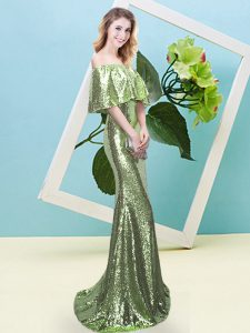 Off The Shoulder Half Sleeves Pageant Gowns Floor Length Sequins Yellow Green Sequined