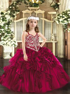Fuchsia Lace Up Straps Beading and Ruffles Little Girls Pageant Dress Wholesale Organza Sleeveless