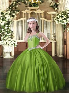 Great Floor Length Olive Green Child Pageant Dress Satin Sleeveless Beading