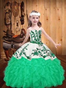Straps Sleeveless Pageant Dress Wholesale Floor Length Embroidery and Ruffles Turquoise Organza