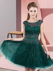 High End Knee Length Backless Pageant Dress for Womens Dark Green for Prom and Party with Beading