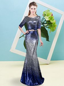 Excellent Mermaid Pageant Dress Womens Multi-color Scoop Sequined Half Sleeves Floor Length Zipper