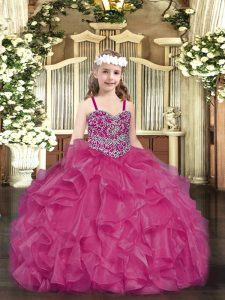 Wonderful Floor Length Ball Gowns Sleeveless Fuchsia Pageant Dress Wholesale Lace Up