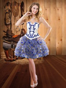 Adorable Strapless Sleeveless Pageant Dress Wholesale Mini Length Embroidery Multi-color Fabric With Rolling Flowers
