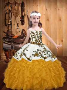 Sleeveless Lace Up Floor Length Embroidery and Ruffles Little Girl Pageant Dress