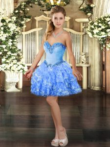 Smart Baby Blue Sleeveless Organza Lace Up Custom Made Pageant Dress for Prom and Party