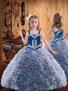 Multi-color Lace Up Little Girls Pageant Dress Embroidery and Ruffles Sleeveless Floor Length