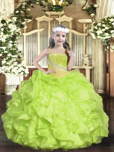 High Quality Sleeveless Lace Up Floor Length Beading Little Girls Pageant Gowns