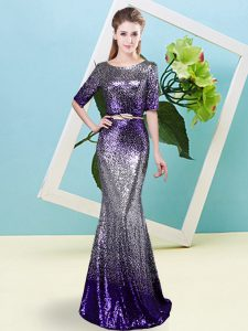 Multi-color Half Sleeves Sequined Zipper Winning Pageant Gowns for Prom and Party