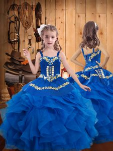 Sleeveless Floor Length Embroidery and Ruffles Lace Up Pageant Gowns For Girls with Blue