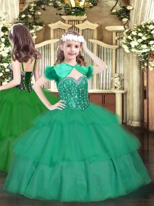 Straps Sleeveless Glitz Pageant Dress Floor Length Beading and Ruffled Layers Turquoise Organza