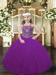 Tulle Straps Sleeveless Lace Up Beading Evening Gowns in Purple