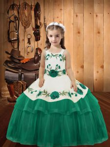 Classical Ball Gowns Kids Formal Wear Turquoise Straps Organza Sleeveless Floor Length Lace Up