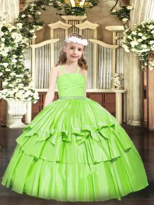 Beading and Lace Pageant Dress Womens Zipper Sleeveless Floor Length