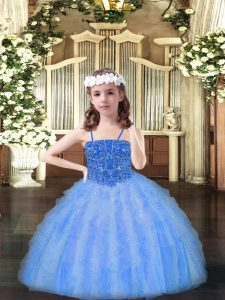 Baby Blue Lace Up Child Pageant Dress Beading and Ruffles Sleeveless Floor Length