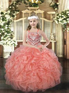 Orange Red Sleeveless Floor Length Beading and Ruffles Lace Up High School Pageant Dress