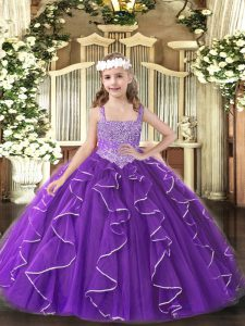 Floor Length Purple Little Girls Pageant Gowns Straps Sleeveless Lace Up