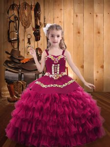 Fashionable Ball Gowns Little Girl Pageant Gowns Fuchsia Straps Organza Sleeveless Floor Length Lace Up