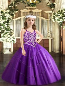Cute Tulle Straps Sleeveless Lace Up Beading and Appliques Child Pageant Dress in Purple