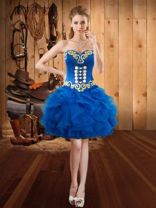 Royal Blue Lace Up Pageant Dress Toddler Embroidery and Ruffles Sleeveless Mini Length