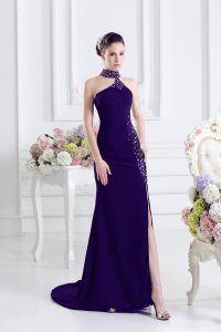 Pretty Elastic Woven Satin Sleeveless Pageant Gowns Sweep Train and Beading