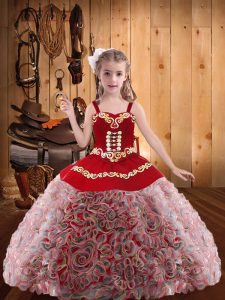 Elegant Multi-color Ball Gowns Embroidery and Ruffles Kids Formal Wear Lace Up Fabric With Rolling Flowers Sleeveless Floor Length