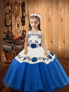 Straps Sleeveless Organza Pageant Dress Embroidery Lace Up