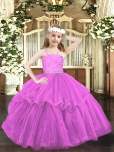 Sleeveless Beading and Lace Zipper Child Pageant Dress