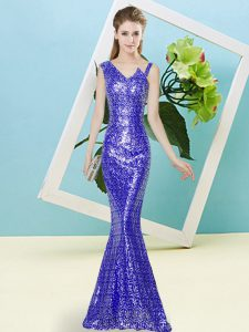 Royal Blue Zipper Pageant Dress for Teens Sequins Sleeveless Floor Length