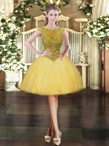 Gold Cap Sleeves Mini Length Beading and Ruffles Zipper Pageant Dresses