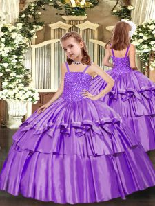 Graceful Lavender Lace Up Straps Beading and Ruffled Layers Pageant Dress Taffeta Sleeveless