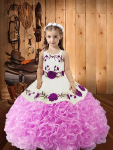 Straps Sleeveless Fabric With Rolling Flowers Little Girl Pageant Dress Embroidery and Ruffles Lace Up