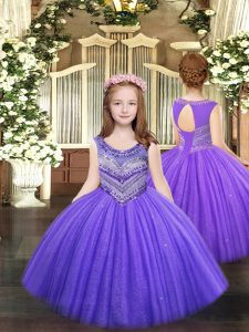 Graceful Lavender Sleeveless Tulle Lace Up Little Girl Pageant Gowns for Party and Quinceanera