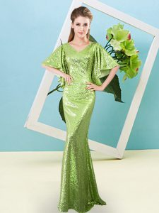 Yellow Green Zipper Pageant Dress for Teens Sequins Half Sleeves Floor Length