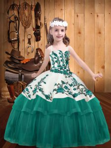 Popular Organza Straps Sleeveless Lace Up Embroidery Pageant Dress Womens in Turquoise