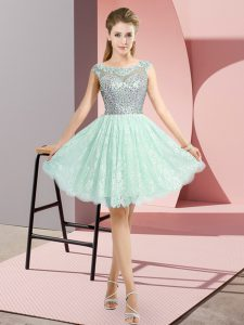 Empire Custom Made Pageant Dress Apple Green Scoop Lace Cap Sleeves Mini Length Backless