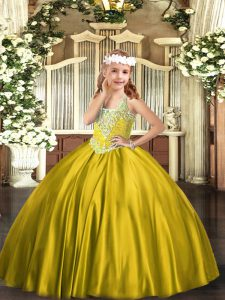 Fashion Gold Lace Up V-neck Beading Little Girls Pageant Dress Satin Sleeveless